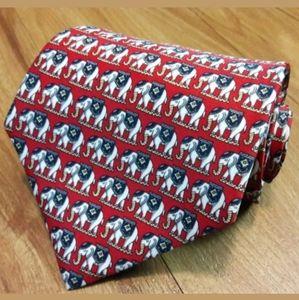Rene Chagal India Elephants Design Silk Necktie